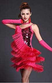 Latin Dance Dresses Women's Performance Sequined / Milk Fiber Tassel(s) 1 Piece Black / Blue / Fuchsia / Red