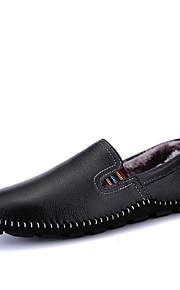 Men's Shoes Leather Casual Loafers Casual Flat Heel Slip-on Black / Blue / Brown
