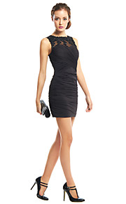 TS Couture Cocktail Party Dress - Black Sheath/Column Jewel Short/Mini Jersey
