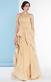 Lanting Bride® Trapèze Robe de Mariage  Colorées Longueur Sol Sans Bretelles Mousseline de soie avec Effet Croisé