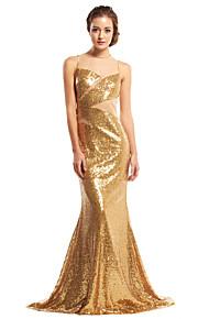 Formeller Abend Kleid - Goldgelb Mit Paillette - Meerjungfrau-Linie / Mermaid-Stil - Sweep / Pinsel Zug - Juwel-Ausschnitt
