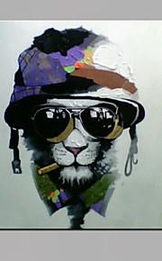 単一現代抽象純粋な手は眼鏡犬の油絵で装飾をハングアップする準備ができて描きます
