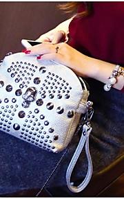Women PU Baguette Shoulder Bag - White / Gold / Silver / Black