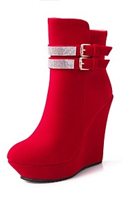 Women's Shoes Leatherette Wedge Heel  / Round Toe Boots Outdoor / Office & Career / Casual Black / Red