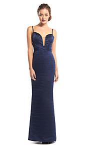 TS Couture® Formal Evening Dress Sheath / Column Spaghetti Straps Floor-length Satin with Beading / Criss Cross