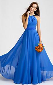 Lan TingFloor-length Chiffon Bridesmaid Dress - Royal Blue A-line Jewel