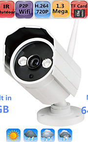 hd impermeabile macchina fotografica del IP esterna 720p sicurezza ir wifi p2p visione notturna onvif 64gb tf sd card max