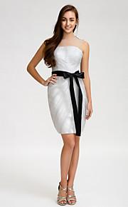 Lan TingKnee-length Tulle Bridesmaid Dress - Silver Sheath/Column Jewel