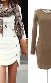kvinners knapper designe ensfarget slank mini kjole, langermet plus size