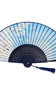 Japanese Silk Folding Hand Fans - 1 Piece/Set Hand Fans Floral Theme Blue