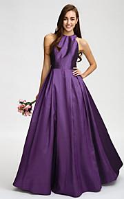 Lan TingFloor-length Taffeta Bridesmaid Dress - Grape A-line Jewel