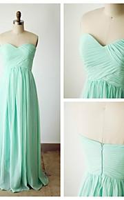 Floor-length Chiffon Bridesmaid Dress - Sage A-line Sweetheart