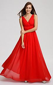 Lan TingFloor-length Chiffon Bridesmaid Dress - Ruby A-line V-neck