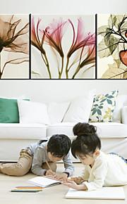 Botanisk / Romantikk Lerret Print Tre Paneler Klar til å henge , Kvadrat