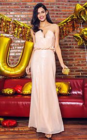 Официальный вечер Платье - Перламутрово-розовый Платье-чехол Без лямок/V-образный Длина до пола С блестками