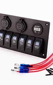 iztoss sigarettenaansteker dubbele USB-oplader adapter aluminium inbouw 6 bende tuimelschakelaar panel zwart