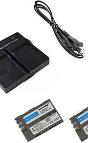 ismartdigi EL3e digitalt kamera batteri x2 + dobbelt oplader til Nikon D90 D80 D300S D300 D700 D200