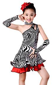 Latin Dance Outfits Children's Performance Spandex Milk Fiber Ruffles 4 Pieces Sleeves Dress NeckwearS :57 M :60 L :63 XL :66 XXL :70