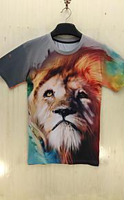 Tryck Kort ärm T-shirt Herr Fritid Polyester