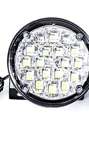 carking ™ universal 18 førte runde stil bil DRL kørelys / tåge lys-hvidt lys (2stk)