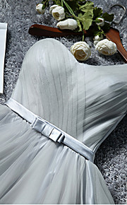 Knee-length Tulle Bridesmaid Dress-Ruby / Pearl Pink / Champagne / Silver / Sky Blue A-line One Shoulder