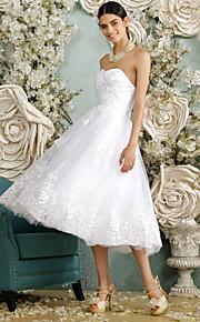 Robe de Mariage - Blanc Trapèze Col en Cœur Mollet Mollet