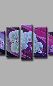"estirada (listo para colgar) pintura al óleo pintado a mano 60 ""x36"" flores modernas pared de lona de arte púrpura blanca"