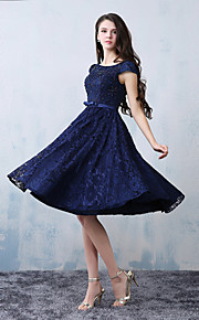 Knee-length Lace / Satin Bridesmaid Dress-Dark Navy A-line Scoop