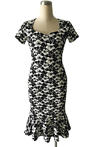 Women's Vintage / Cute / Street chic Jacquard A Line / Bodycon Dress,Square Neck Knee-length Polyester / Spandex