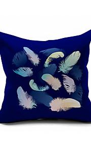 Navy Blue Peacock Feather Cotton/Linen Pillow Cover , Nature Modern/Contemporary  Pillow Linen Cushion