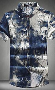 Camicia Uomo Casual Con stampe / Fantasia floreale Manica corta Cotone