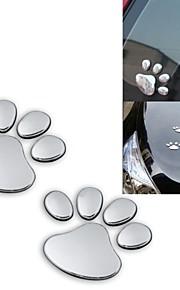 ziqiao 2pcs / lot stijlvol zilver grappig bear paw dier voetafdruk embleem 3d auto stickers auto-accessoires