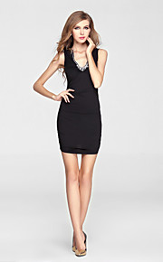Cocktail Party Dress Sheath / Column V-neck Short / Mini Charmeuse with Beading / Crystal Detailing