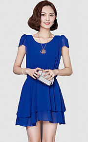 Women's Simple Solid Chiffon Dress,Round Neck Above Knee Polyester