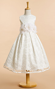 Lanting Bride A-vonalú Tea-hossz Virágoslány ruha - Csipke Ujjatlan Mély dekoltázs val vel Csokor / Virág(ok) / Csipke