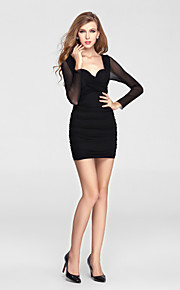 Formal Evening Dress Sheath / Column V-neck Short / Mini Charmeuse / Polyester with Lace