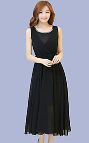 Women's Boho Solid Chiffon / Swing Dress,Round Neck Maxi Polyester