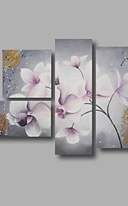 """estirada (listo para colgar) pintura al óleo pintado a mano 52 flores modernas """"x36"""" arte de la pared de lona gris blanco"""