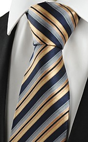 KissTies Men's Striped Golden Black Microfiber Tie Necktie For Holiday With Gift Box
