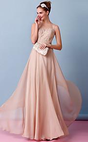 Lanting Bride® Fourreau / Colonne Robe de Mariage  Colorées Longueur Sol Bateau Mousseline de soie avec Appliques