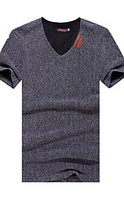 Tee-Shirt Décontracté Pour des hommes Manches Courtes Couleur plaine Coton