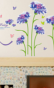 Romance Purple Cornflower Flower  Wall Decals Florals / Landscape Wall Stickers Plane Wall Stickers,pvc 60*90cm