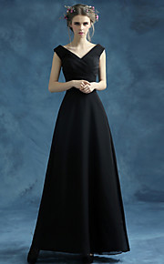 Ankle-length Organza / Satin Bridesmaid Dress A-line V-neck with Sash / Ribbon / Criss Cross
