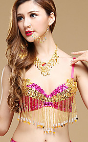 Belly Dance Tops Women's Performance Polyester / Sequined Sequins 1 Piece Black / Blue / Fuchsia / Purple / Red / Yellow