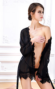 Women Robes /Women's Solid Black Nightwear