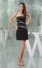 Cocktail Party Dress-Black Sheath/Column Strapless Short/Mini Satin