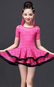 Latin Dance Dresses Children's Performance Lace / Viscose Lace 2 Pieces Black / Fuchsia / Royal Blue