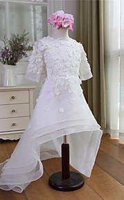 Blumenmädchenkleid-Organza-A-Linie-Asymmetrisch-Halbe Ärmel