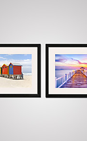 Fritid / Landskap / Fotografisk / Modern Canvastryck Två paneler Redo att hänga,Horisontell