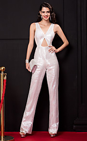 Formeller Abend Kleid-Elfenbein Pailletten-Eng anliegend-Boden-Länge-V-Ausschnitt